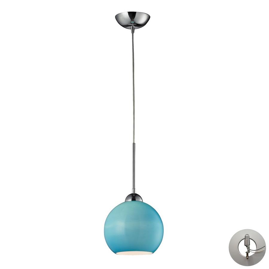 Shop westmore lighting swancott 8 in w polished chrome aqua mini pendant light with tinted glass