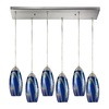 Westmore Lighting Diffusion 30-in Satin Nickel and Blue Glass Mini Tinted Glass Pendant