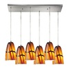 Westmore Lighting Gobi 30-in Satin Nickel and Bruneau Glass Mini Tinted Glass Pendant