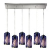Westmore Lighting Asteria 30-in Satin Nickel and Oceania Glass Mini Tinted Glass Pendant