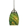 Westmore Lighting Umbrial 4-in Satin Nickel and Evergreen Glass Mini Tinted Glass Pendant