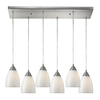 Westmore Lighting Nobello 30-in Satin Nickel and White Swirl Glass Mini Tinted Glass Pendant