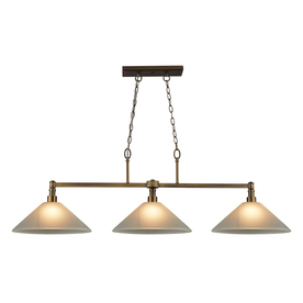 Westmore Lighting 53-in W Chilswell 3-Light Brushed Antique Brass and White Glass Kitchen Island Light with White Shade IS307213WHLED