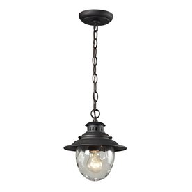 Westmore Lighting Farington 10-in Weathered Charcoal and Water Glass Outdoor Pendant Light