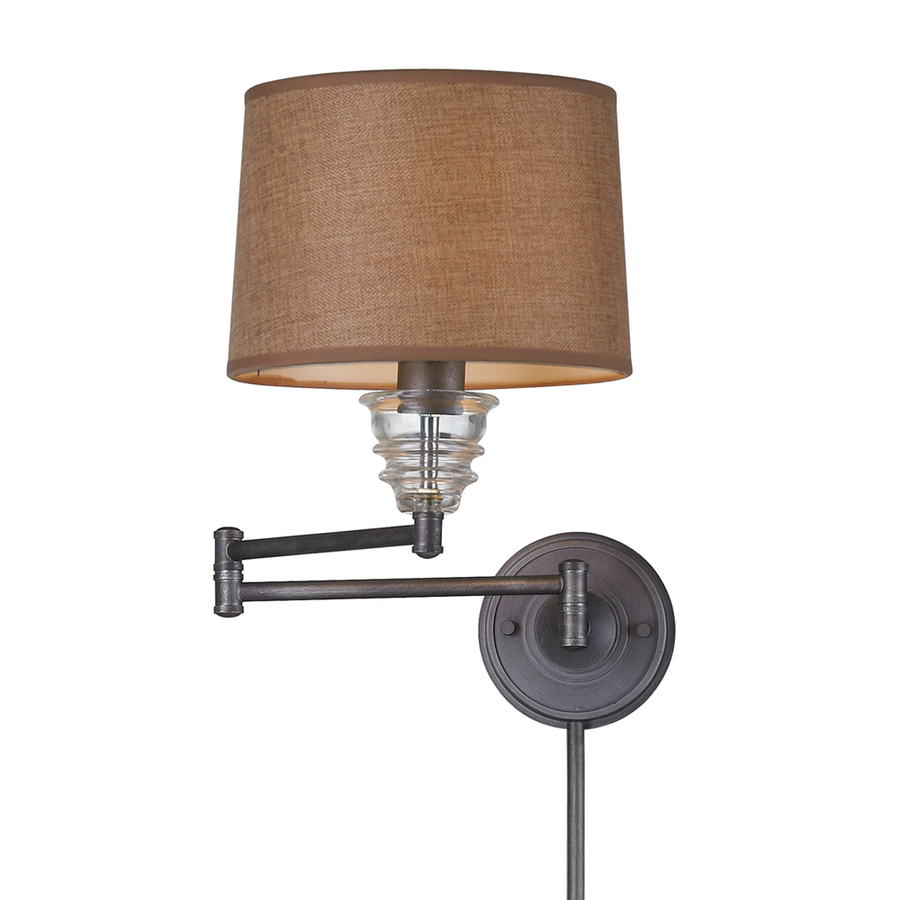Wall Mounted Lamps With Swing Arms : Shop Westmore Lighting 15-in H Weathered Zinc Swing-Arm LED Wall-Mounted Lamp with Fabric Shade ...