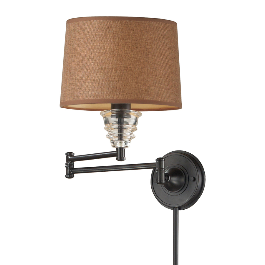 Wall Mounted Lamps With Swing Arms : Shop Westmore Lighting 15-in H Oiled Bronze Swing-Arm Wall-Mounted Lamp with Fabric Shade at ...