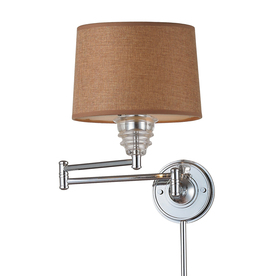 Westmore Lighting 15-in H Polished Chrome Swing-Arm LED Wall-Mounted Lamp with Fabric Shade