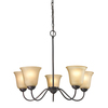 Westmore Lighting Ashland 26-in 5-Light Oil Rubbed Bronze Tinted Glass Standard Chandelier