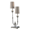 Westmore Lighting Avery 33.5-in Chrome Indoor Table Lamp with Fabric Shade