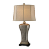 Westmore Lighting Molnar 33.5-in 3-Way Silver Indoor Table Lamp with Fabric Shade