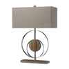 Westmore Lighting Guevara 22.8-in 3-Way Washed Wood and Chrome Indoor Table Lamp with Fabric Shade