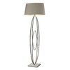 Westmore Lighting Oakville 62-in 3-Way Polished Nickel Indoor Floor Lamp with Fabric Shade