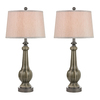 Westmore Lighting Lansville 31.3-in 3-Way Grey Glaze Indoor Table Lamp with Fabric Shade