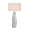 Westmore Lighting Meridian 35-in 3-Way White Indoor Table Lamp with Fabric Shade