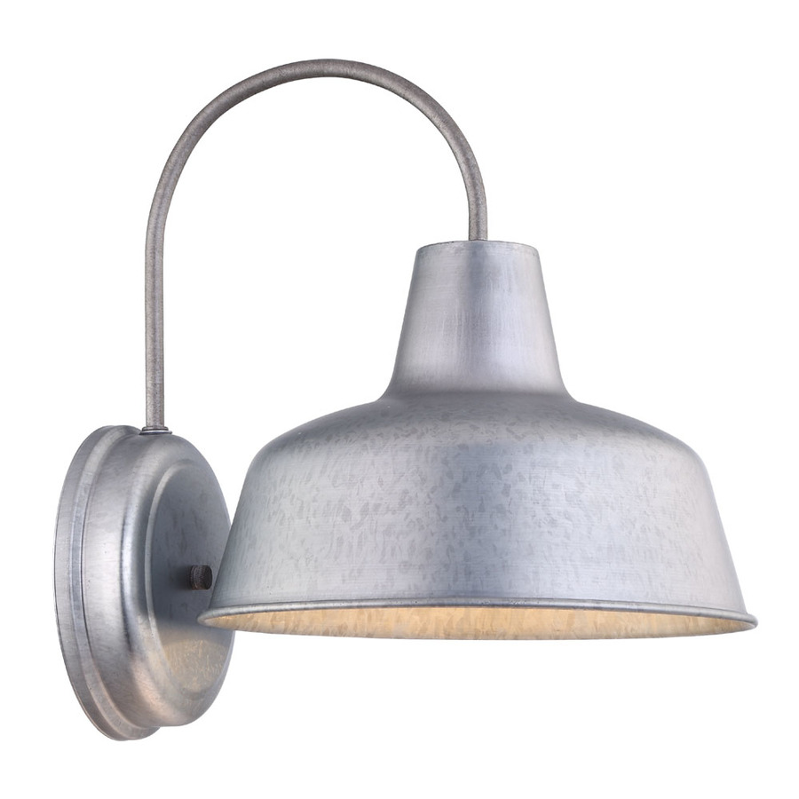Exterior Wall Lights Lowes : Shop Portfolio Ellicott 13.12-in H Galvanized Dark Sky Outdoor Wall Light at Lowes.com