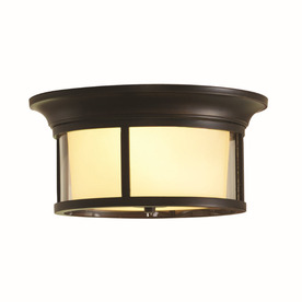 allen + roth Harpwell 13.19-in W Oil-Rubbed Bronze Ceiling Flush Mount