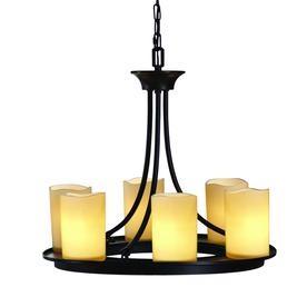 allen + roth Harpwell 20.08-in 6-Light Oil Rubbed Bronze Standard Chandelier
