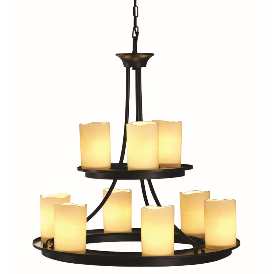 Shop Allen Roth Harpwell 9 Light Oil Rubbed Bronze