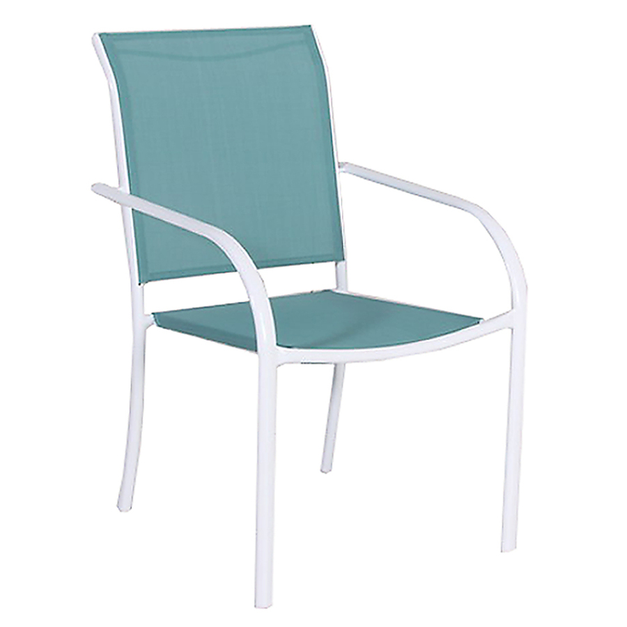 Shop Style Selections Driscol White Sling Seat Steel Stackable Patio Dining Chair at Lowes.com