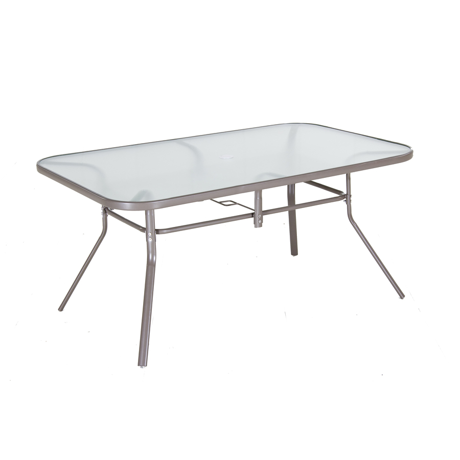 shop garden treasures driscol glass top taupe rectangle ForGlass Top Outdoor Dining Table