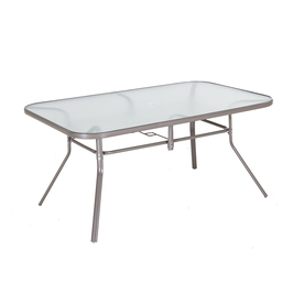 Garden Treasures Driscol Glass Top Taupe Rectangle Patio Dining Table