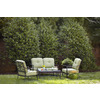 Garden Treasures 4-Piece Withrow Hall Aluminum Patio Loveseat and Coffee Table Set with Green Cushions