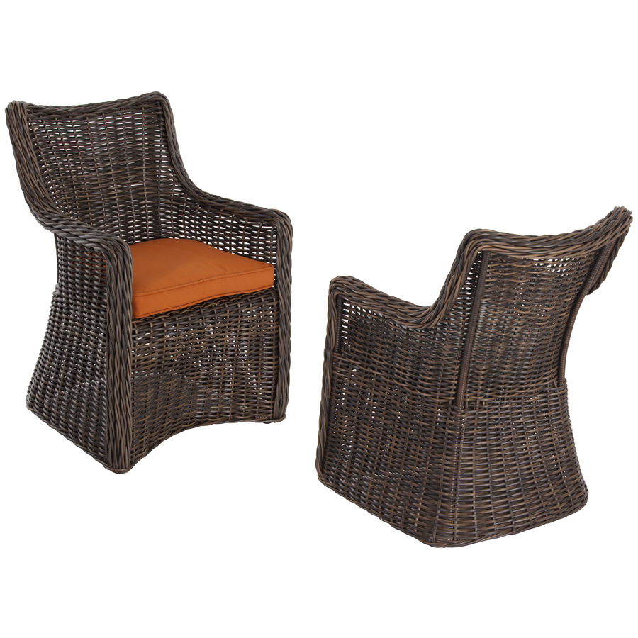 Shop Allen Roth Set Of 2 Wicker Patio Dining Chairs With Solid Orange Cushi