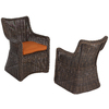 allen + roth Set of 2 Wicker Patio Dining Chairs with Solid Orange Cushions