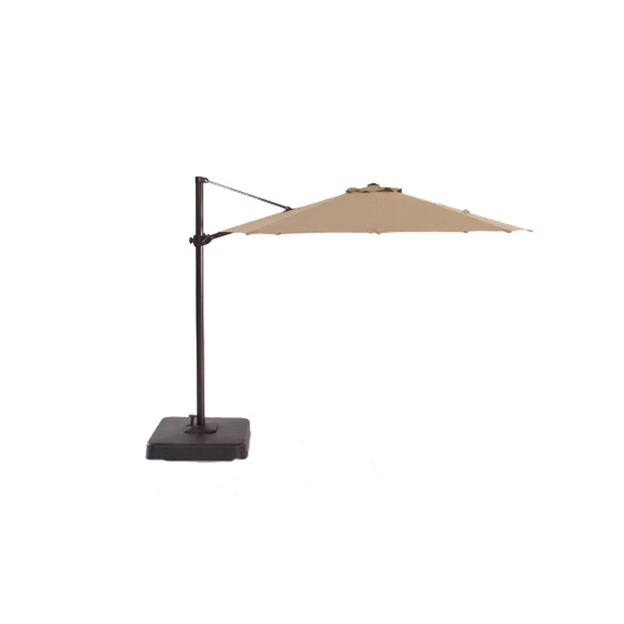 shop allen roth round tan patio umbrella with tilt and