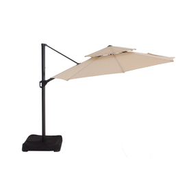 Garden Treasures Round Tan Offset Umbrella with Crank (Common: 126-in x 126-in; Actual: 126-in x 126-in)