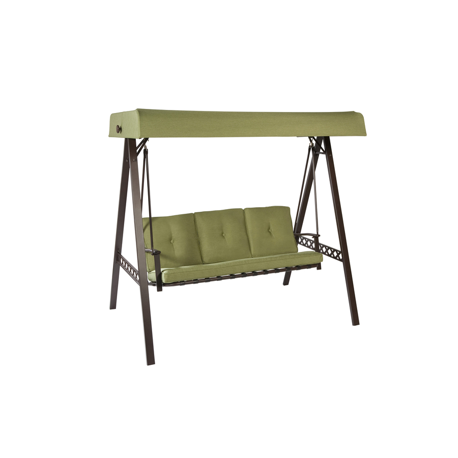 Shop garden treasures 3 seat steel casual cushion swing at for Lowes garden treasures