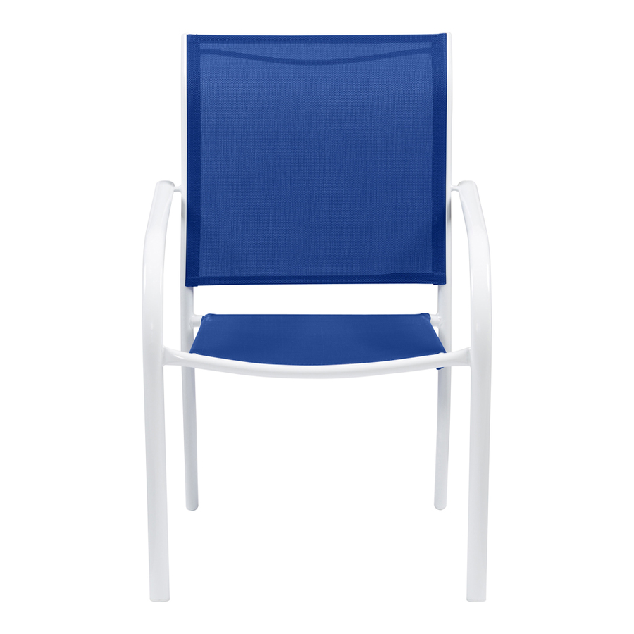 springs white sling steel stackable patio dining chair at