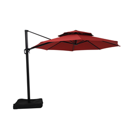 Good Shop Garden Treasures Round Red Offset Patio Umbrella With Crank (Common:  10 Ft; Actual: 10.5 Ft) At Lowes.com