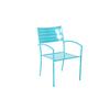 Garden Treasures Teal Slat Seat Steel Stackable Patio Dining Chair