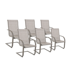 Shop Garden Treasures Set Of 6 Hayden Island Sand Sling Seat Steel Patio Dini