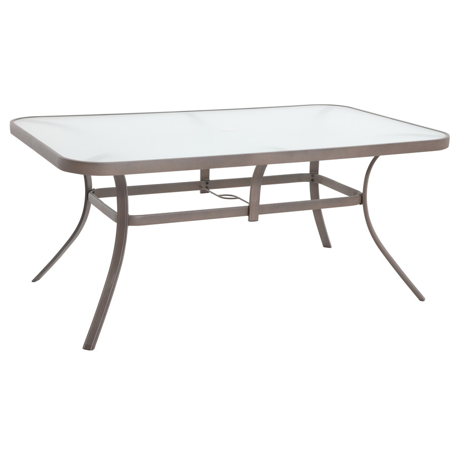 Shop garden treasures hayden island glass top sand for Glass top outdoor dining table