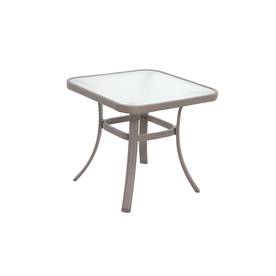 Shop garden treasures hayden island x sand steel square patio end table at - Treasure island patio furniture ...