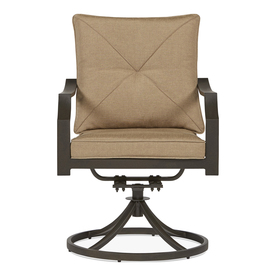 Garden Treasures Vinehaven 2 Count Brown Steel Swivel Patio Dining Chairs  With Tan Cushions