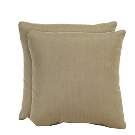 allen + roth Set of 2 Sunbrella Heather Beige UV-Protected Square Outdoor Decorative Pillows