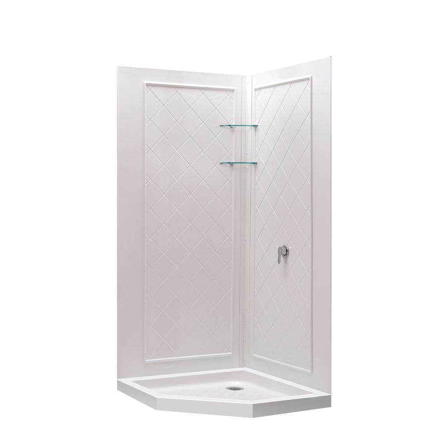 Shop DreamLine Shower Base And Wall White Acrylic Neo Angle 3 Piece Corner Sh