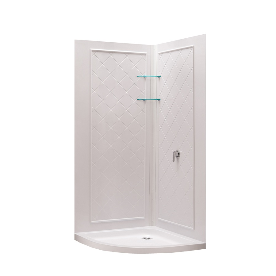 Shower Base And Wall White Acrylic Round 3 Piece Corner Shower Kit