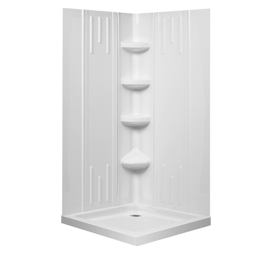 Shower Base And Wall White Acrylic Square 4 Piece Corner Shower Kit
