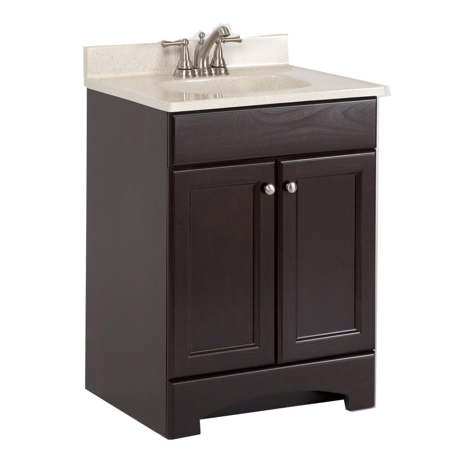 Shop style selections 24 5 in x 18 6 in cocoa integral - Lowes single sink bathroom vanity ...