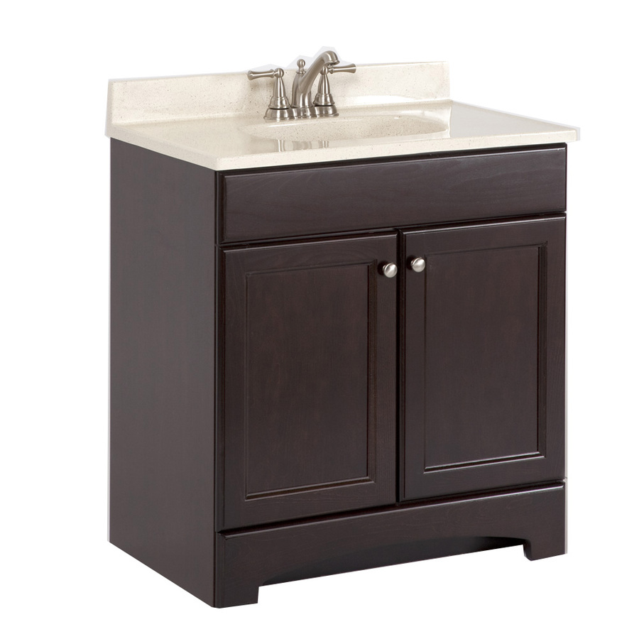 Shop Style Selections 30 6 In X 18 7 In Cocoa Integral Single Sink Bathroom Vanity With Cultured