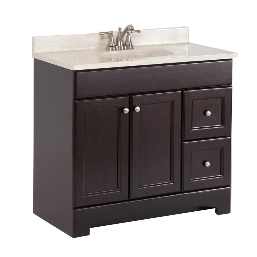 style selections 36 7 in x 18 9 in cocoa integral single sink bathroom