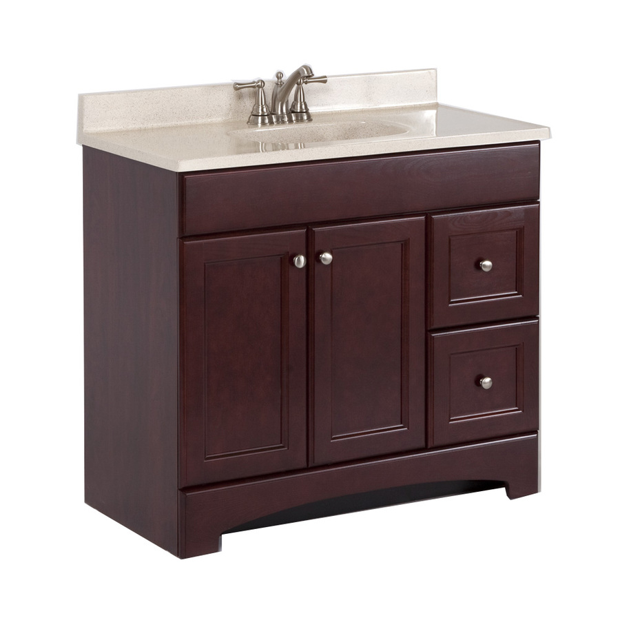 36.7in x 18.9in Cherry Integral Single Sink Bathroom Vanity