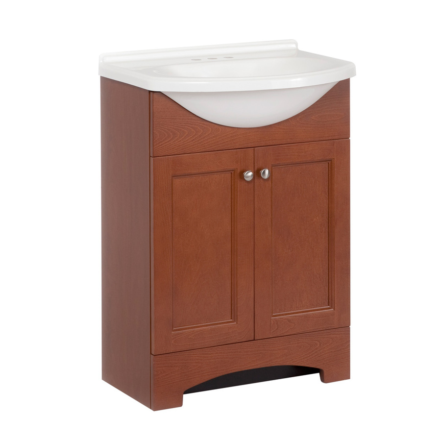 Shop style selections 24 in x 26 8 in russett integral single sink bathroom vanity with cultured - Cultured marble bathroom vanity tops ...