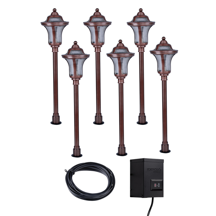 light copper low voltage incandescent path lights landscape light kit. Black Bedroom Furniture Sets. Home Design Ideas