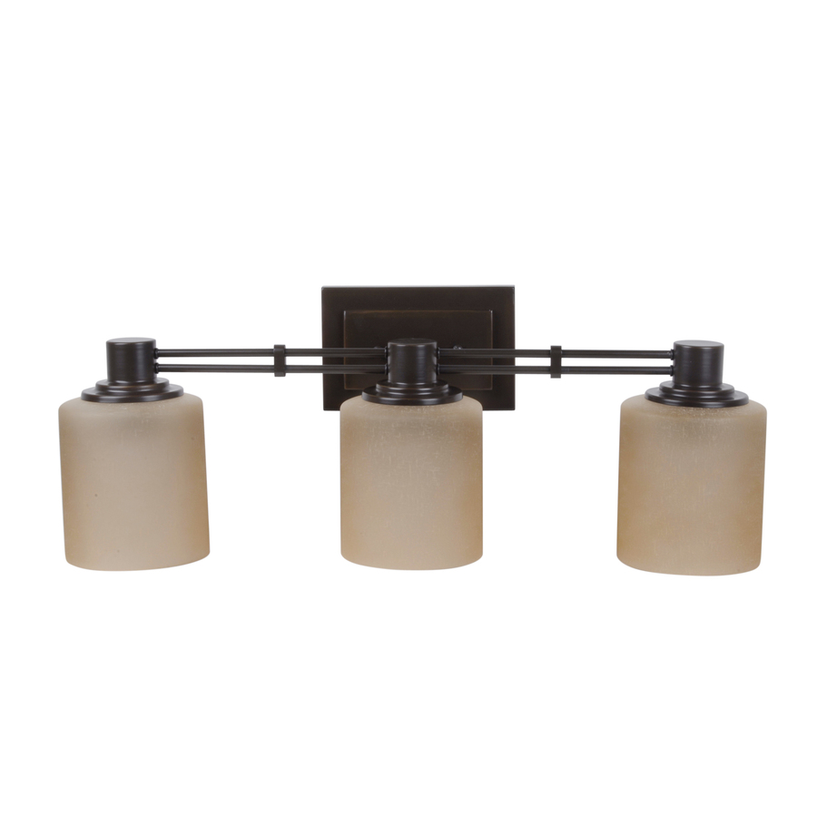 Vanity Lights For Bathroom Bronze : Shop Portfolio 3-Light Lunenbeck Oil-Rubbed Bronze Bathroom Vanity Light at Lowes.com