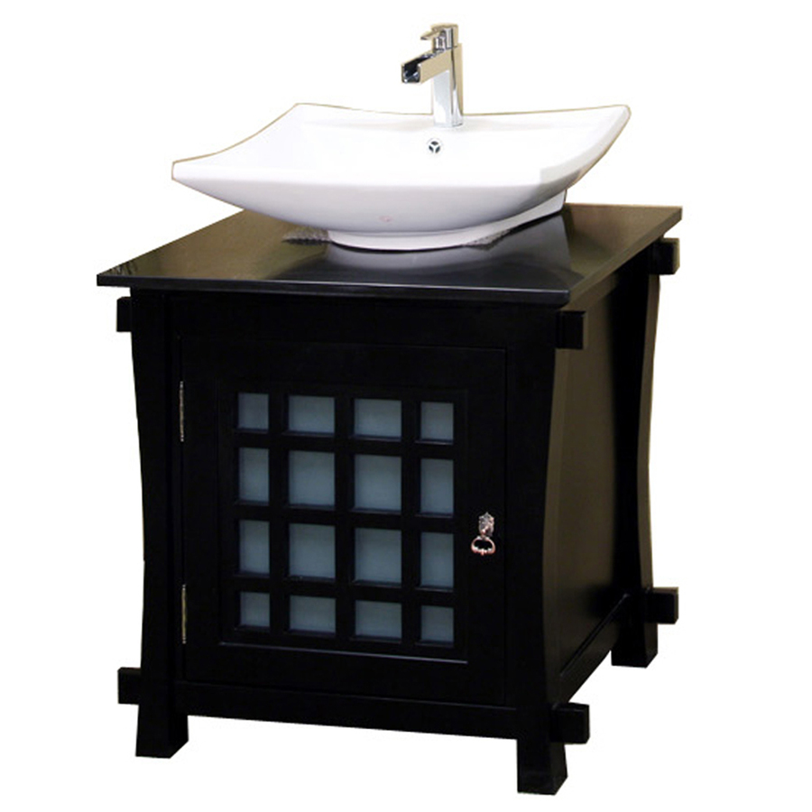 shop bellaterra home black vessel single sink bathroom vanity with natural marble top common. Black Bedroom Furniture Sets. Home Design Ideas